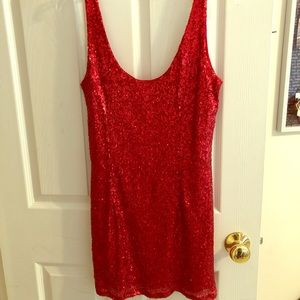 ✰ RED SEQUIN MINI DRESS ✰